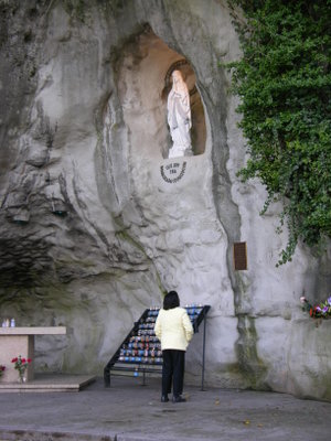 Mom looking up to her patron saint - Our Lady of Lourdes