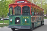 Tram transports visitors