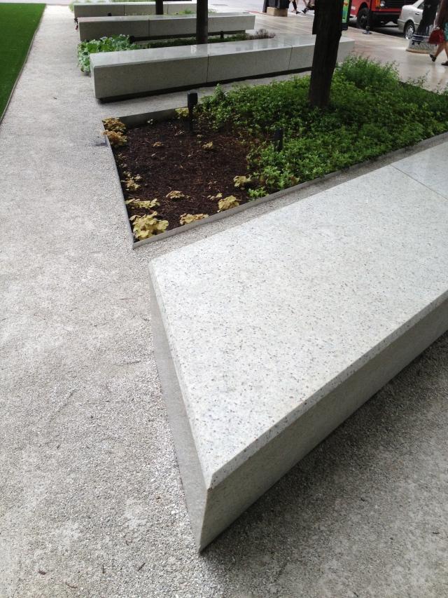 Benches at an angle