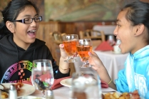 The girls toast