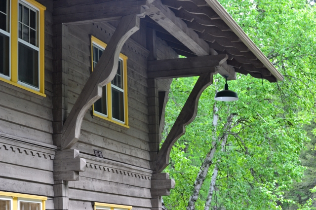 A mountain chalet window