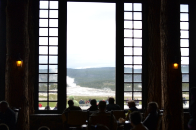 Window with a view of the Old Faithful
