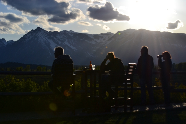 Enjoying the sun set behind The Grand Tetons
