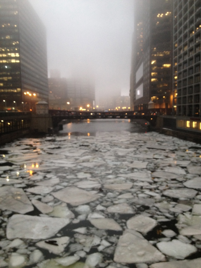 Ice floes down the Chicago River