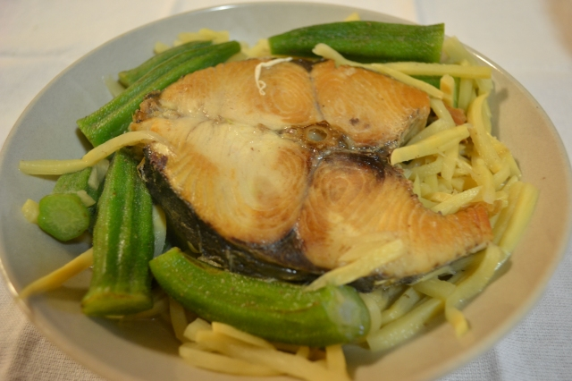 Ilocano dinendeng with okra