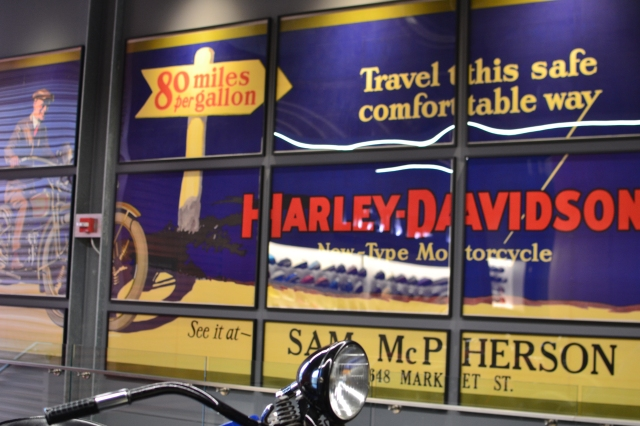 A vintage sign from the Harley-Davidson museum
