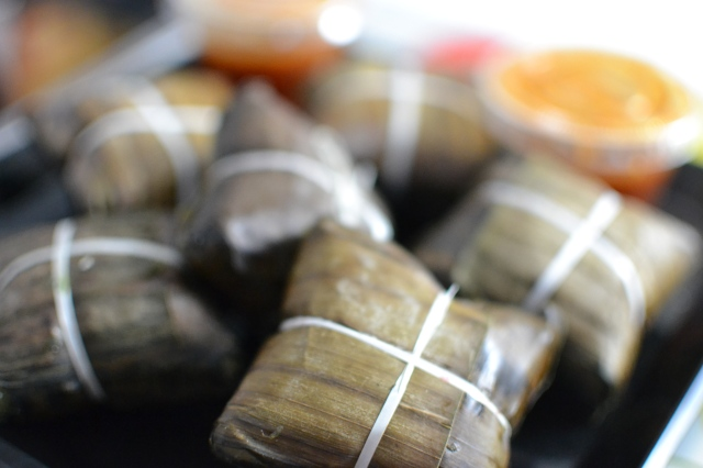 Filipino suman (steamed sticky rice)